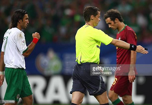 Mexican forward Francisco Fonseca gestures while Referee Roman Slisko of Slovakia shows the place for a penalty during the World Cup 2006 group D...
