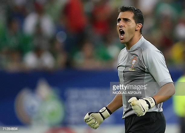 Portuguese goalkeeper Ricardo gestures during the World Cup 2006 group D football game Portugal vs Mexico 21 June 2006 at Gelsenkirchen stadium AFP...