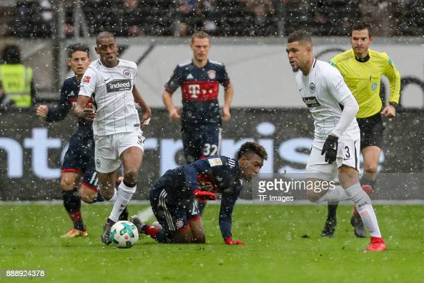 Gelson da Conceicao Tavares Fernandes of Frankfurt and Kingsley Coman of Muenchen battle for the ball during the Bundesliga match between Eintracht...
