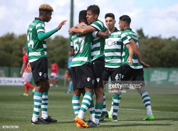 Gelson Dala of Sporting CP B celebrates with teammates after scoring a goal during the Segunda Liga match between Sporting CP B and SL Benfica B at...
