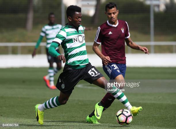 Gelson Dala of Sporting CP B with Dieguinho of CD Cova da Piedade in action during the Segunda Liga match between CD Cova da Piedade and Sporting CP...
