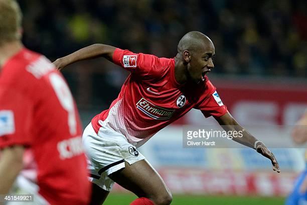 Gelson Fernandes of Freiburg celebrates after scoring their first goal during the Bundesliga match between Eintracht Braunschweig and SC Freiburg at...