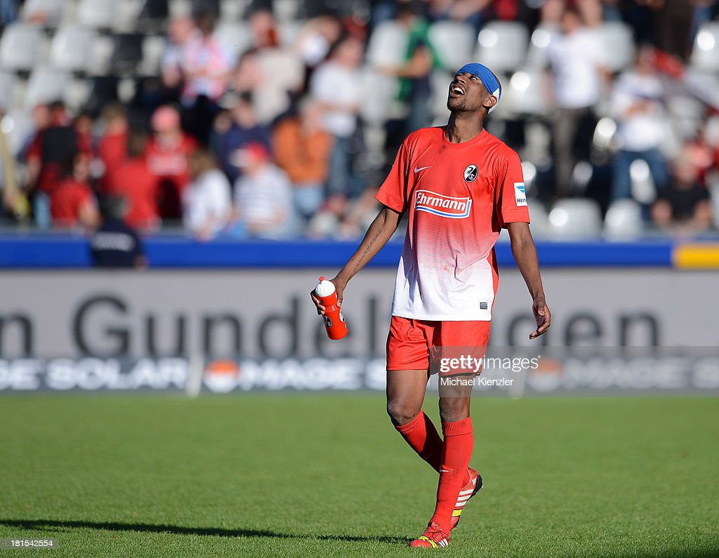 <a gi-track='captionPersonalityLinkClicked' href=/galleries/search?phrase=Gelson+Fernandes&family=editorial&specificpeople=2971817 ng-click='$event.stopPropagation()'>Gelson Fernandes</a> of Freiburg reacts after the Bundesliga match between SC Freiburg and Hertha BSC at Mage Solar Stadium on September 22, 2013 in Freiburg, Germany.