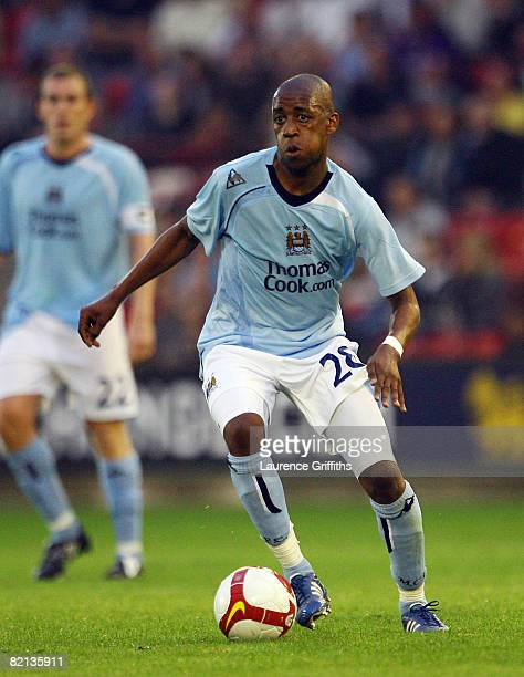 Gelson Fernandes of Manchester City in action during the UEFA Cup Qualifying Round One 2nd Leg Match between Manchester City and EB Streymur at...