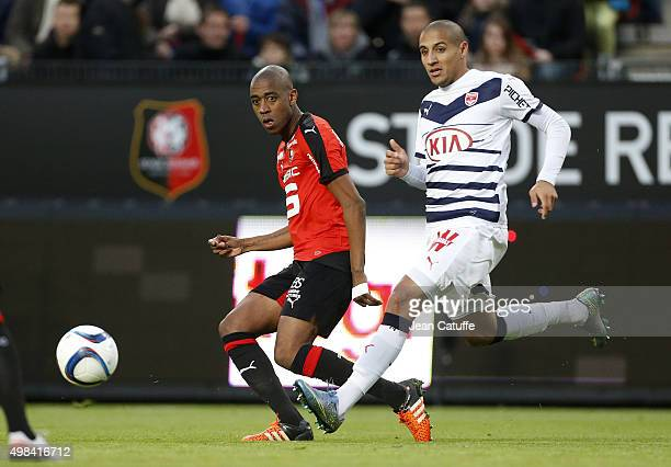 Gelson Fernandes of Rennes and Wahbi Khazri of Bordeaux in action during the French Ligue 1 match between Stade Rennais and Girondins de Bordeaux at...