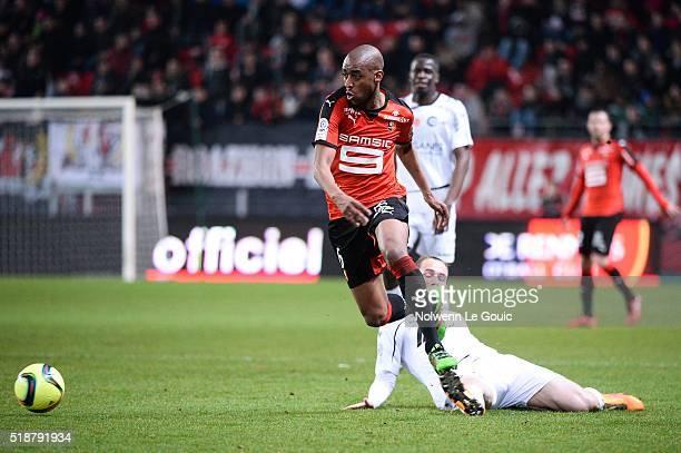 Gelson Fernandes of Rennes Antoine Devaux of Reims during the French Ligue 1 match between Stade Rennais v Stade de Reims at Stade de la Route de...