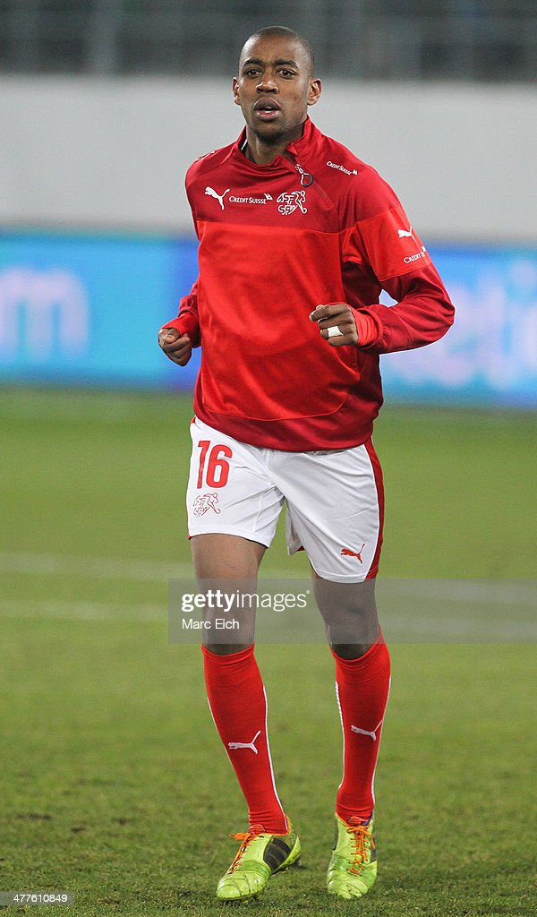 <a gi-track='captionPersonalityLinkClicked' href=/galleries/search?phrase=Gelson+Fernandes&family=editorial&specificpeople=2971817 ng-click='$event.stopPropagation()'>Gelson Fernandes</a> of Switzerland at the warm up prior the international friendly match between Switzerland and Croatia at the AFG Arena on March 5, 2014 in St Gallen, Switzerland.