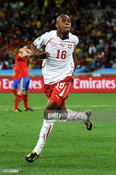 Gelson Fernandes of Switzerland celebrates scoring the first goal during the 2010 FIFA World Cup South Africa Group H match between Spain and...