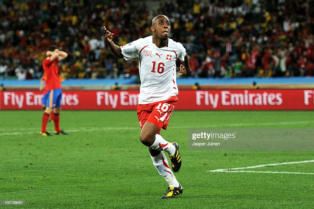 <a gi-track='captionPersonalityLinkClicked' href=/galleries/search?phrase=Gelson+Fernandes&family=editorial&specificpeople=2971817 ng-click='$event.stopPropagation()'>Gelson Fernandes</a> of Switzerland celebrates scoring the first goal during the 2010 FIFA World Cup South Africa Group H match between Spain and Switzerland at Durban Stadium on June 16, 2010 in Durban, South Africa.