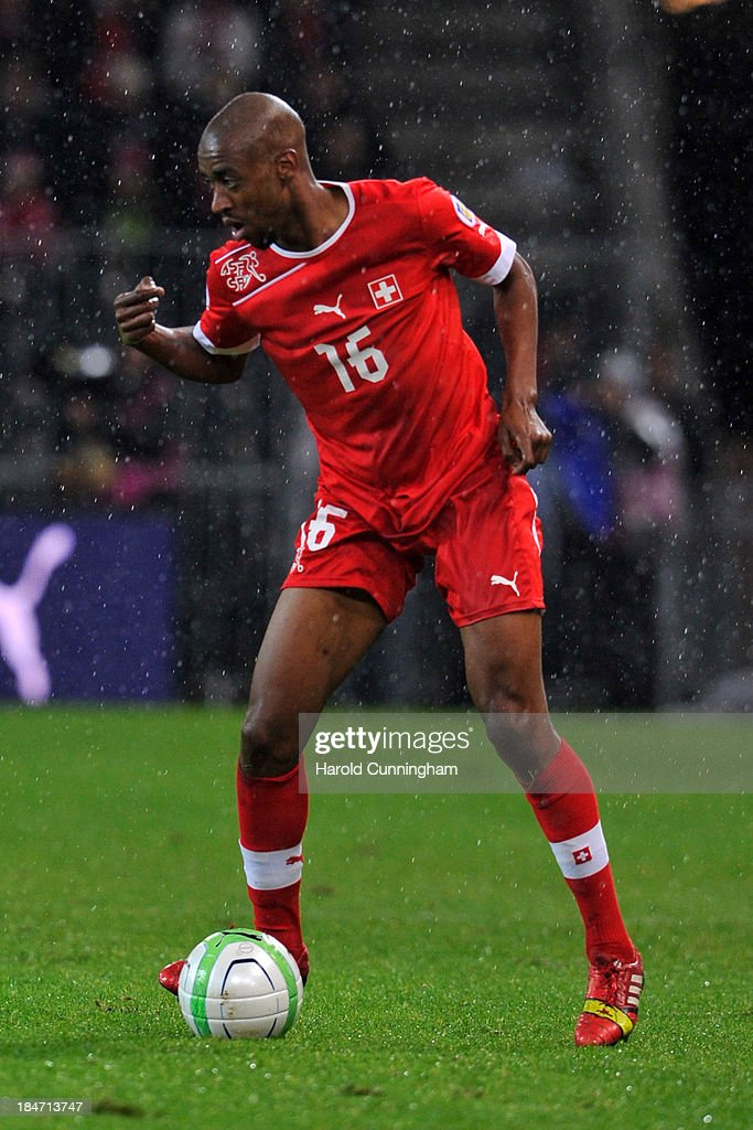 <a gi-track='captionPersonalityLinkClicked' href=/galleries/search?phrase=Gelson+Fernandes&family=editorial&specificpeople=2971817 ng-click='$event.stopPropagation()'>Gelson Fernandes</a> of Switzerland in action during the FIFA 2014 World Cup Qualifier match between Switzerland and Slovenia match held at Stade de Suisse on October 15, 2013 in Bern, Switzerland.