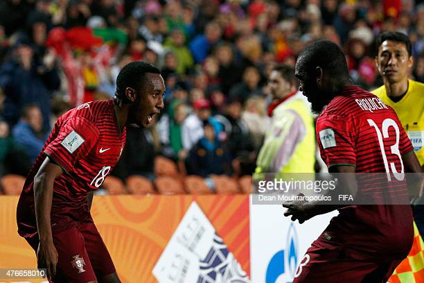 Gelson Martins of Portugal celebrates scoring his teams the second goal of the game with Mauro Riquicho during the FIFA U20 World Cup New Zealand...