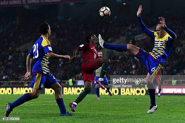 Gelson Martins of Portugal competes for the ball with Ildefons Lima of Andorra during the FIFA 2018 World Cup Qualifier between Portugal and Andorra...