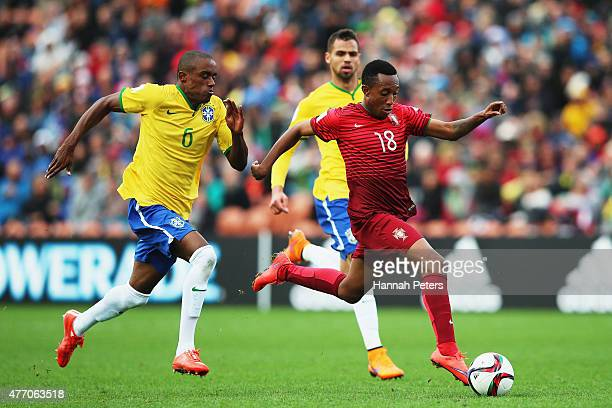 Gelson Martins of Portugal makes a break during the FIFA U20 World Cup New Zealand 2015 quarter final match between Brazil and Portugal held at...