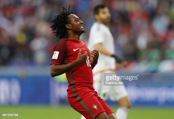 Gelson Martins of Portugal reacts during the FIFA Confederations Cup Russia 2017 Group A match between Portugal and Mexico at Kazan Arena on June 18...