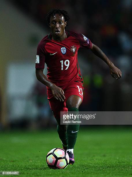 Gelson Martins of Portugal runs with the ball during the FIFA 2018 World Cup Qualifier between Portugal and Andorra at Estadio Municipal de Aveiro on...