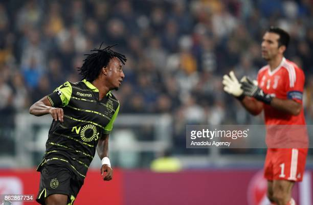 Gelson Martins of Sporting CP celebrates after Alex Sandro of Juventus scored an own goal during the UEFA Champions League group D football match...