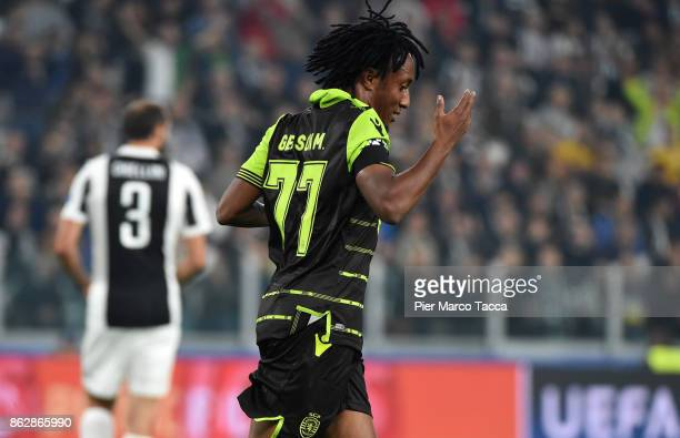 Gelson Martins of Sporting CP celebrates during the UEFA Champions League group D match between Juventus and Sporting CP at Juventus Stadium on...