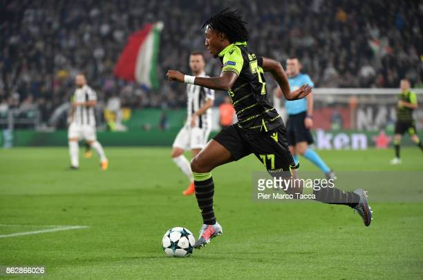 Gelson Martins of Sporting CP in action during the UEFA Champions League group D match between Juventus and Sporting CP at Juventus Stadium on...