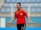 Gema Gili of Spain celebrates her first half goal during the FIFA U17 Women's World Cup match between New Zealand and Spain at the Ato Boldon Stadium...
