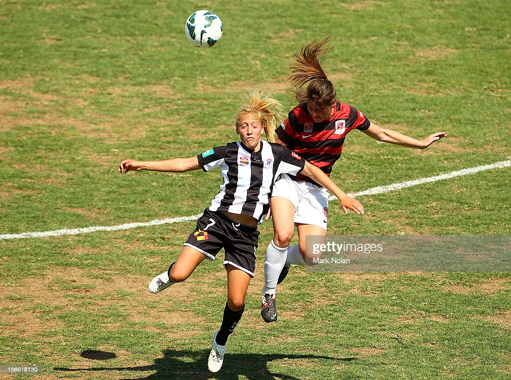 Gema Simon of the Jets and Vanessa Hart of the Wanderers contetst possession during the round six W-League match between the Western Sydney Wanderers and the Newcastle Jets at Campbelltown Sports Stadium on November 25, 2012 in Sydney, Australia.
