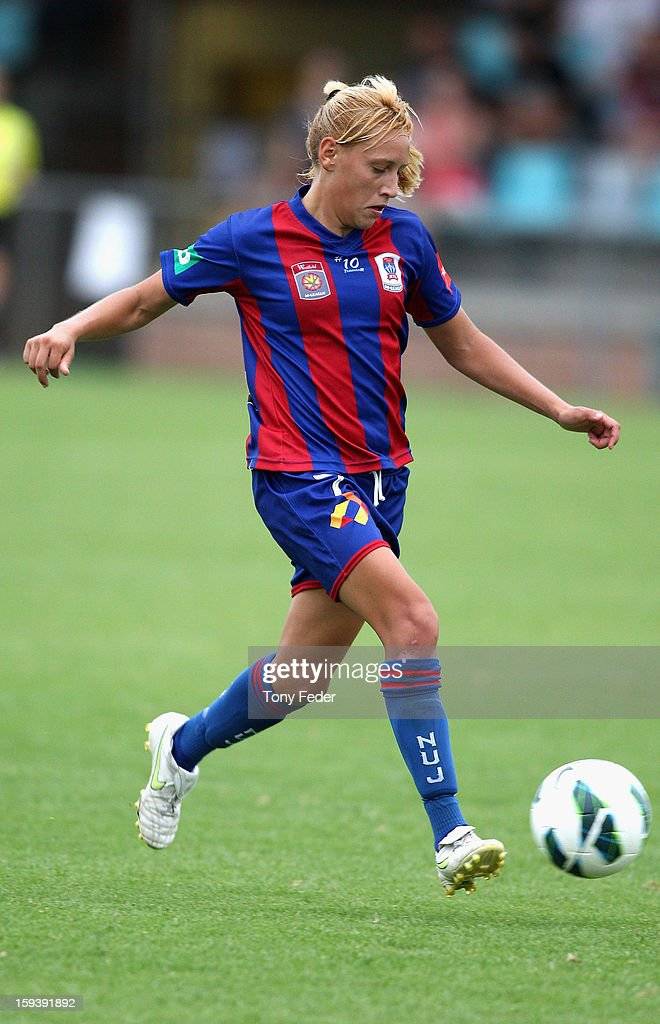 Gema Simon of the Newcastle Jets in action during the round 12 W-League match between the Newcastle Jets and the Melbourne Victory at Wanderers Oval on January 13, 2013 in Newcastle, Australia.