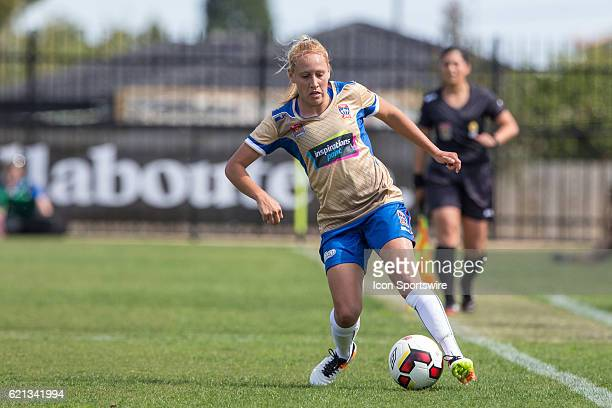 Gema Simon of the Newcastle Jets Women controls the ball during the 1st round of the Westfield WLeague between Melbourne City and the Newcastle Jets...