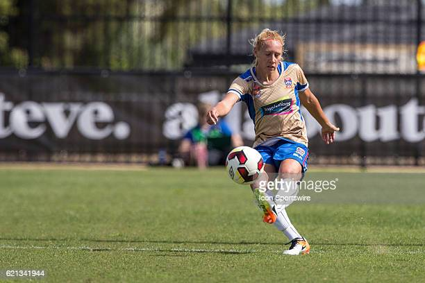 Gema Simon of the Newcastle Jets Women passes the ball during the 1st round of the Westfield WLeague between Melbourne City and the Newcastle Jets on...