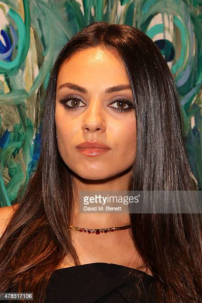 Gemfields brand ambassador Mila Kunis attends a Faberge cocktail reception at Masterpiece London at Royal Hospital Chelsea on June 24 2015 in London...