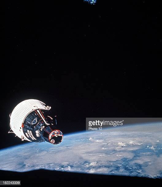 Gemini 7 spacecraft photographed from the hatch window of Gemini 6 spacecraft