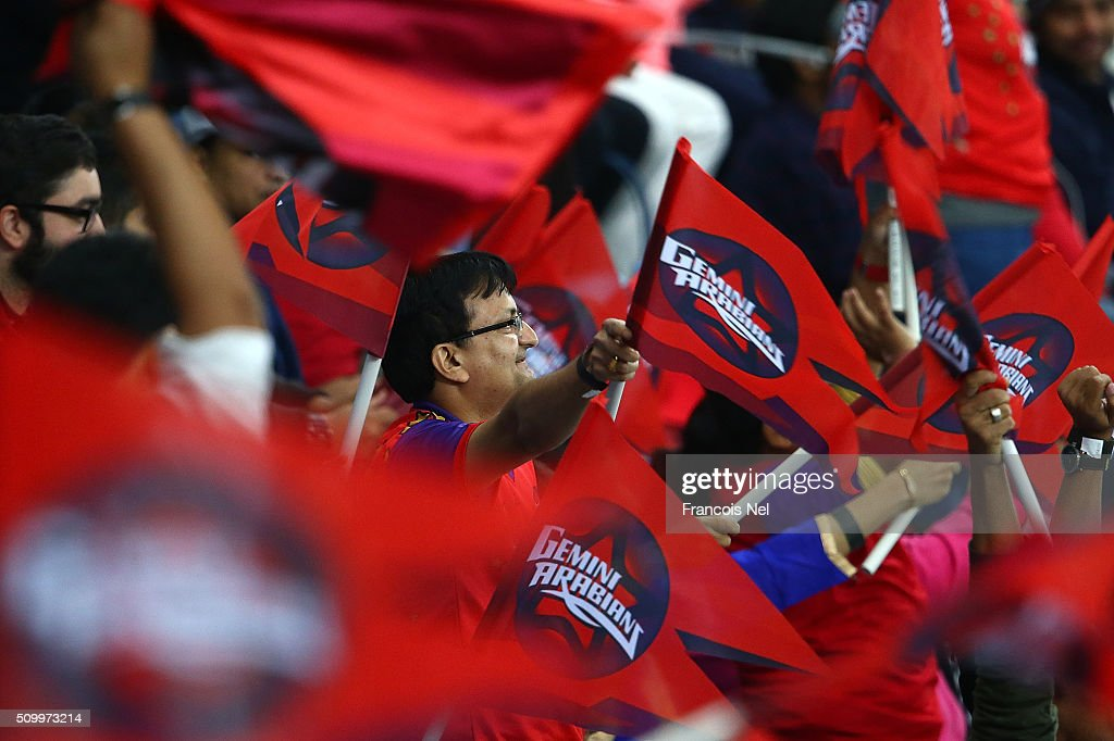 Gemini Arabians fans enjoy the atmosphere during the Final match of the Oxigen Masters Champions League between Gemini Arabians and Leo Lions at the Dubai International Cricket Stadium on February 13, 2016 in Dubai, United Arab Emirates.