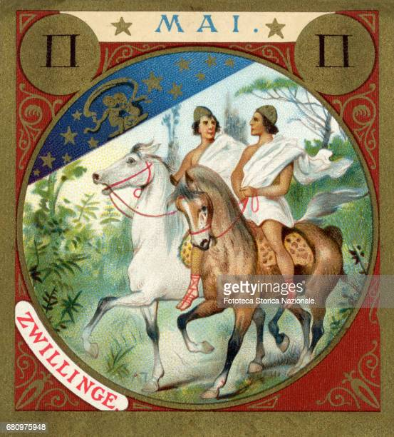 Gemini the Dioscuri on horseback little picture dedicated to May from a series illustrated with zodiac signs and scenes from classical mythology...