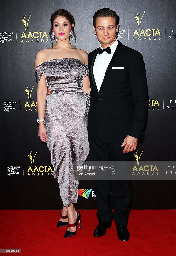 Gemma Arterton and Jeremy Renner arrive for the 2nd Annual AACTA Awards at The Star on January 30, 2013 in Sydney, Australia.