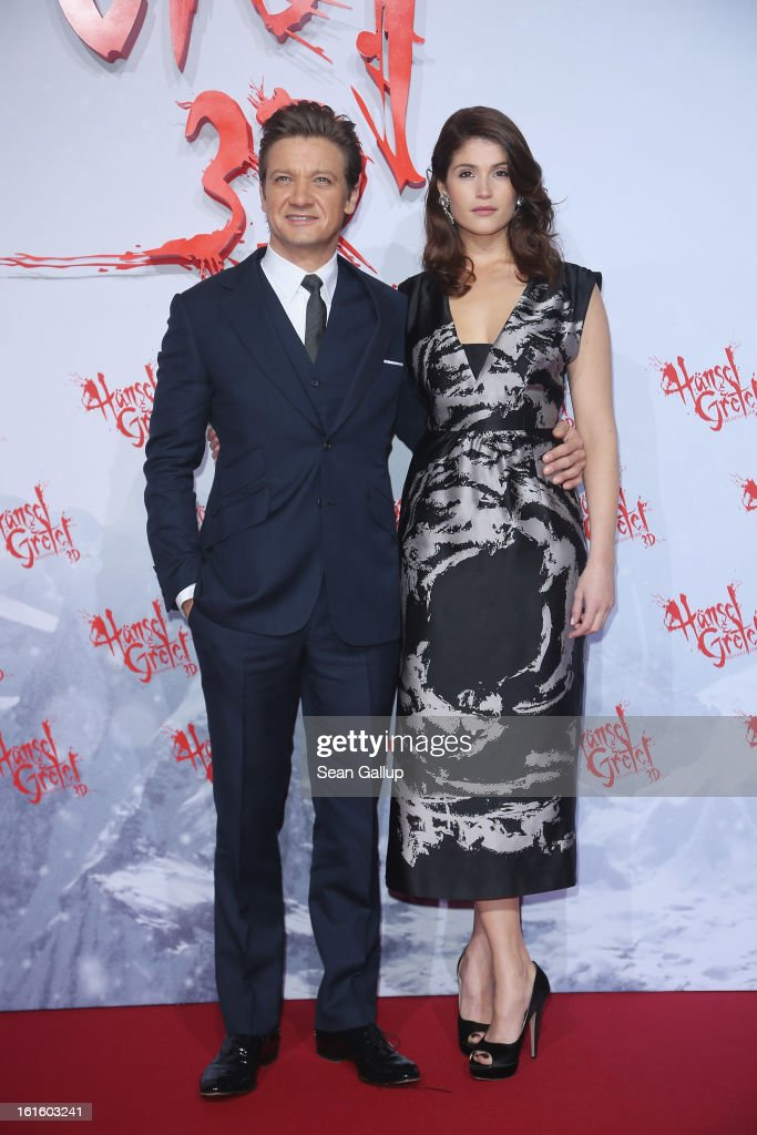 Gemma Arterton and Jeremy Renner attend the German premiere of 'Hansel and Gretel: Witch Hunters' at the Kulturbrauerei on February 12, 2013 in Berlin, Germany.
