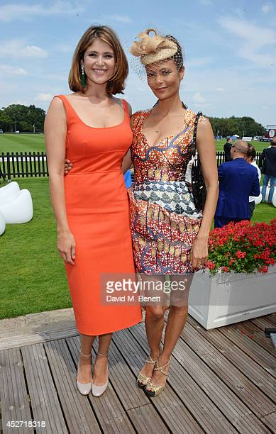 Gemma Arterton and Thandie Newton attend Audi International at Guards Polo Club near Windsor to support England as it faces Argentina for the...