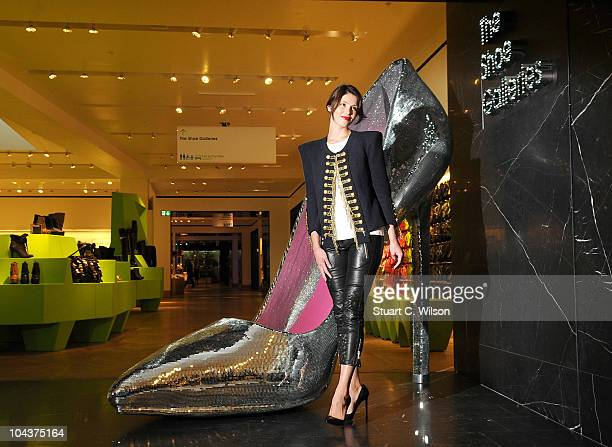 Gemma Arterton attends a Photocall to launch the Shoe Galleries at Selfridges on September 23 2010 in London England