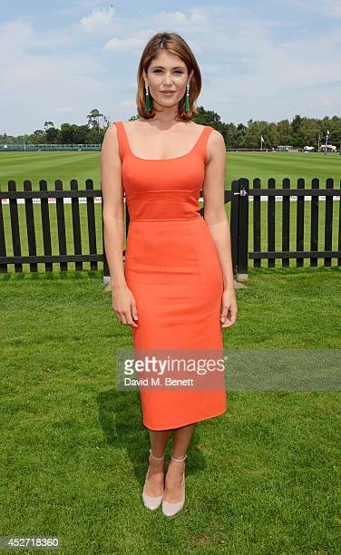 Gemma Arterton attends Audi International at Guards Polo Club near Windsor to support England as it faces Argentina for the Coronation Cup on July 26...