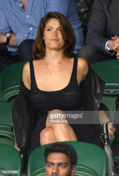 Gemma Arterton attends the Mikhail Kuskushkin v Rafael Nadal match on centre court during day six of the Wimbledon Championships at Wimbledon on June...