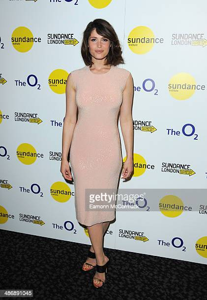Gemma Arterton attends the premiere of 'The Voices' at Sundance London at Cineworld 02 Arena on April 26 2014 in London England She is wearing a...