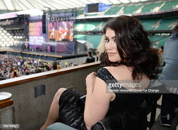 Gemma Arterton inside the Royal Box at the 'Chime For Change The Sound Of Change Live' Concert at Twickenham Stadium on June 1 2013 in London England...