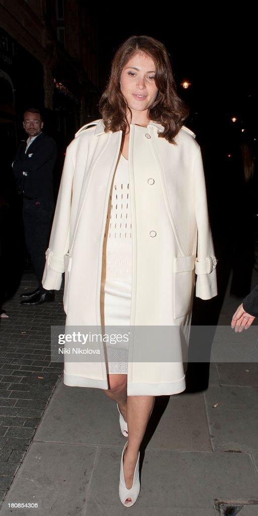 Gemma Arterton is sighted leaving lulu Restaurant, Mayfair on September 16, 2013 in London, England.