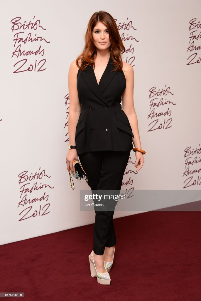 Gemma Arterton poses in the awards room at the British Fashion Awards 2012 at The Savoy Hotel on November 27, 2012 in London, England.