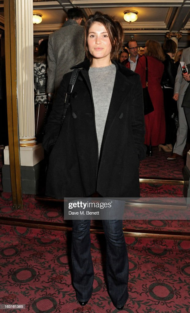 <a gi-track='captionPersonalityLinkClicked' href=/galleries/search?phrase=Gemma+Arterton&family=editorial&specificpeople=4296305 ng-click='$event.stopPropagation()'>Gemma Arterton</a> poses in the foyer following the press night performance of 'The Audience' at the Gielgud Theatre on March 5, 2013 in London, England.