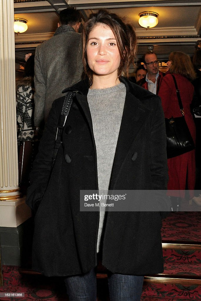 Gemma Arterton poses in the foyer following the press night performance of 'The Audience' at the Gielgud Theatre on March 5, 2013 in London, England.