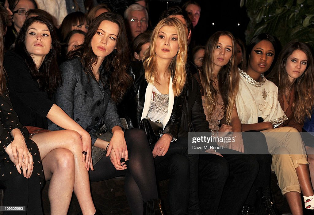 Gemma Arterton, Rebecca Hall, Rosamund Pike, Nichohlas Hoult, Harley Viera Newton, VV Brown, and Jade Williams sit in the front row at the Mulberry Salon Show at London Fashion Week Autumn/Winter 2011 at Claridge's Hotel on February 20, 2011 in London, England.
