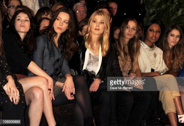 Gemma Arterton Rebecca Hall Rosamund Pike Nichohlas Hoult Harley Viera Newton VV Brown and Jade Williams sit in the front row at the Mulberry Salon...