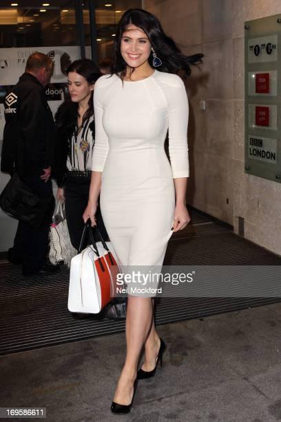 Gemma Arterton seen leaving BBC Radio One on May 28 2013 in London England