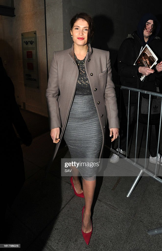 Gemma Arterton sighted at BBC Radio 1 studios on February 15, 2013 in London, England.
