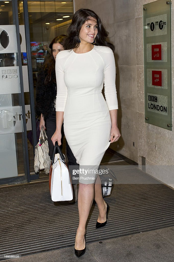 Gemma Arterton sighted departing BBC Radio Studios on May 28, 2013 in London, England.
