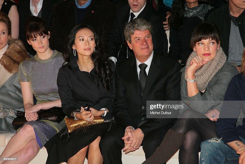 Gemma Arterton Ziyi Zhang Yves Carcelle and Milla Jovovich attends the Louis Vuitton Fashion show during Paris Fashion Week FallWinter 20082009 at...