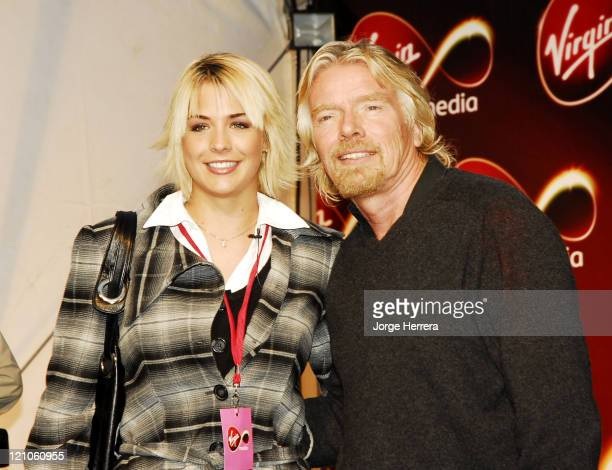 Gemma Atkinson and Richard Branson during Virgin Media Photocall at Covent Garden in London Great Britain